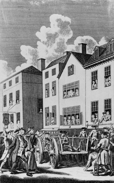 Jonathan Wild pelted by the mob on his way to the place of execution, from the 'Tyburn Chronicle' (engraving) (b/w photo)